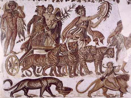 In one of the proper versions, Ariadne is married to Dionysus at the end: here they are in a wedding chariot, with lots of cats.