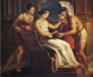 Ariadna giving Theseus the golden thread.