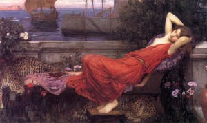 Ariadne left behind on Naxos, painted a couple of hundred years later, included just because it has spotted cats in it.